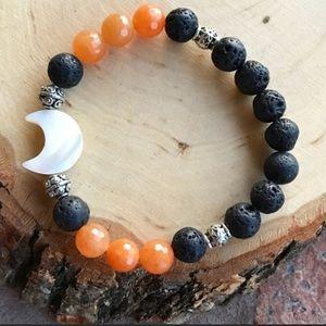 Mother of pearl moon tangerine carnelian bracelet